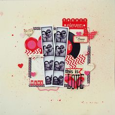 photo strips + pink & red + hearts