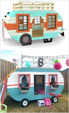 Summer time will be soon arriving and outdoor play days will start for the kids. So, before that time why not build or get them a fun playhouse? Sounds interesting right? So, here you go for some amazing outdoor playhouse ideas: 1. A Super Cute Playhouse with a Slide Out Sand Box Perfect for Summer Days Image via:
