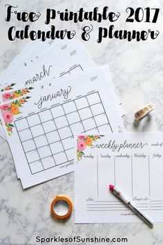 Stay organized with this free printable 2017 monthly calendar and weekly planner. Includes September-December 2016 so you can get started using it now! 2017 Planner, Monthly Planner, Planner Pages, Life Planner, Happy Planner, Weekly Calendar, Monthly Calendars, College Planner, College Tips