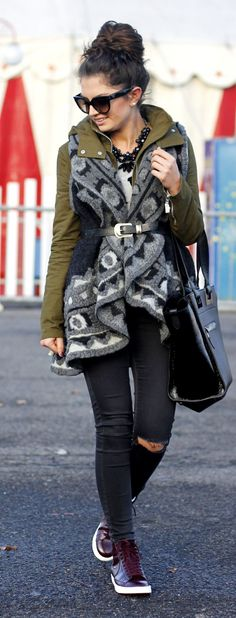 Grey And Black Knit Printed Vest/ utility jacket / patent leather platform sneakers by Fashion Hippie Loves