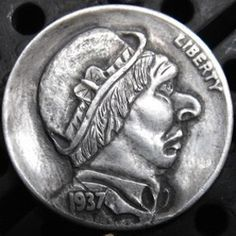 Hobo nickel by Larry Foster.a friend and great carver.a unique work carved in the traditional style with both minimal tools and magnification Hobo Nickel, Coin Art, Modern Artists, Larry, The Fosters, Buffalo, Coins, Carving, Cactus