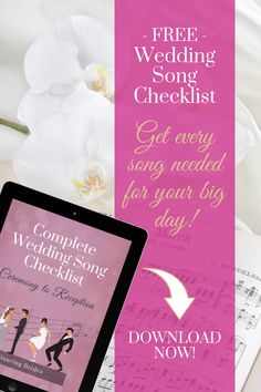 Wedding Song Checklist (Landing Page) Perfect Wedding Songs, Unique Wedding Songs, Wedding Song List, Free Wedding, Unique Weddings, Top First Dance Songs, Father Daughter Songs, Songs For Sons, Wedding Reception