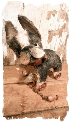handmade by me - boston terrier antique style pull toy on wheels