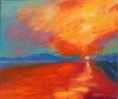 Sunset, J.M.W. Turner, original oil painting by honeyscolors, artwork, art, wall hanging, orange, blue, purple, yellow