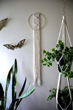 "Macrame Wall Hanging - 45"" Natural White Cotton Rope w/ 8"" Brass Ring - Boho…"