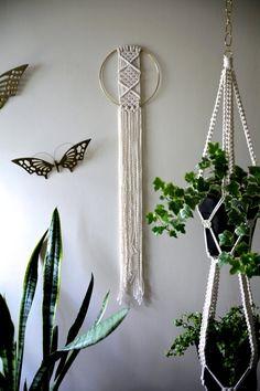 """Macrame Wall Hanging - 45"""" Natural White Cotton Rope w/ 8"""" Brass Ring - Boho…"""