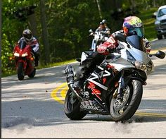 My babe on his Honda CBR 954RR on the Dragon, Deals Gap, NC