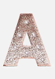 Rose Gold A to Z Sparkle Marquee Light