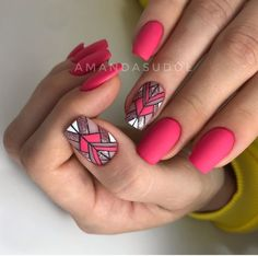 Best Summer Matte Nails Designs You Must Try - Nail Art Connect Nail trends and colors change with the seasons.There are some new nail ideas out for people who like glossy or Stylish Nails, Trendy Nails, Cute Acrylic Nails, Cute Nails, Hair And Nails, My Nails, Bright Pink Nails, Manicure E Pedicure, Glitter Pedicure Designs