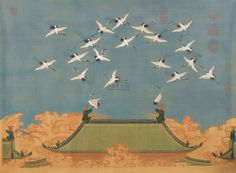 """《瑞鹤图》,是宋徽宗赵佶之""""御笔画"""",构图和技法俱皆精到:构图中一改常规花鸟画传统方法,将飞鹤布满天空,一线屋檐既反衬出群鹤高翔,又赋予画面故事情节,在中国绘画史上是一次大胆尝试;绘画技法尤为精妙,图中群鹤姿态百变,无有同者,鹤身粉画墨写,睛以生漆点染,整个画面生机盎然。 #AuspiciousCranes"""