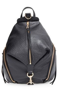 Rebecca Minkoff 'Julian' Backpack at Nordstrom.com. A campus-classic backpack goes glam in glazed, lavishly textured leather for serious street-chic attitude. A gleaming goldtone clip-lock detail and dangling zip tassels add signature touches.