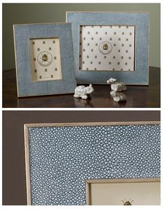 Shagreen does make stunning photo frames. It's a perfect personnel accent piece for any room. Here I have used a subtle turquoise with a pale sycamore wood.