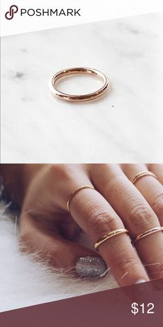 C1003 - RG - new rose gold thick midi size 3 ring Free shipping at priscillama.com | stainless steel , tarnish free | price is firm please do not make offers Jewelry Rings