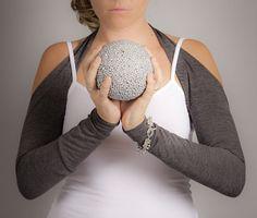 Heather Grey Full Arm Sleeves, Suspender Arm Warmers, Yoga Shrug, Pilates, Cycling, Dance Wear, Size Medium