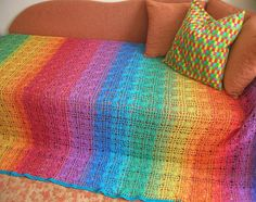 Rainbow Crochet Spiderweb Cotton Blanket With by babukatorium, $750.00