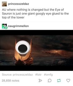 AU where nothing is changed but the Eye of Sauron is just one giant googly eye glued to the top of the tower.