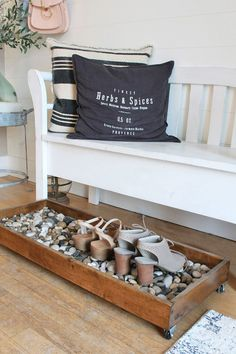 Besides tables, you can rely on benches as your house's entryway furniture. An entryway bench can be as simple as a plank of a wood, long bench. If you have had one entryway . Read Entryway Bench Ideas that are Useful and Beautiful Entryway Shoe Storage, Entryway Furniture, Entryway Decor, Diy Furniture, Entryway Bench, Front Door Shoe Storage, Entry Way Decor Ideas, Bedroom Decor, Foyer Ideas