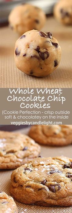 Whole Wheat Chocolate Chip Cookies - Hands down . my favorite chocolate chip cookie. Baking up fat and tall, with a crisp, almost crust-like exterior . on the inside, they're soft, with chocolate in every bite (Vegan Muffin Whole Wheat) Paleo Chocolate Chips, Chocolate Chip Oatmeal, Chocolate Muffins, Healthy Chocolate Chip Cookies, Baking Chocolate, Chocolate Chocolate, Cookie Desserts, Cookie Recipes, Dessert Recipes