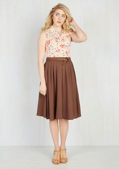 Breathtaking Tiger Lilies Midi Skirt in Cocoa - Full, Fall, Woven, Solid, Work, Best Seller, Tan, Pleats, Pockets, Belted, 4th of July Sale, Boho, Safari, Top Rated, Variation, Mid-Rise, Exclusives, Long, High Waist, Vintage Inspired