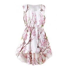 White Dipped Hem Peach Blossom Print Tanks A-line Dress (79 BRL) ❤ liked on Polyvore featuring dresses, beautifulhalo, vestidos, white a line dress, white dress, peach high low dress, white floral print dress and flower print dress