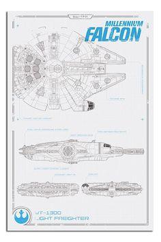 Star Wars Episode 7 Millenium Falcon Plans Poster