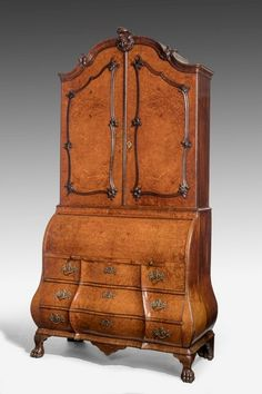 Mid 18th Century Burr Amboyna Bureau Cabinet (Ref No. 7163) - Windsor House Antiques