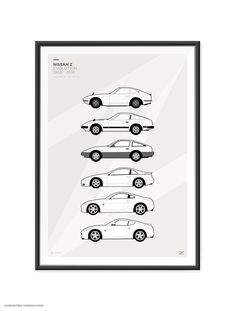"""Features+the+Nissan+/+Datsun+Z+Car+Generations.    A2+420mm+x+600mm+(23.4""""+x+16.5"""")    These+are+high+quality+fine+art+prints.  Printed+using+an+Epson+Stylus+Pro+printer+onto+190gsm+satin+photo+paper.  Incredible+detail,+resolution+and+vibrancy.    240Z,+260Z,+280Z,+280ZX,+300ZX,+350Z,+370Z    Fr..."""