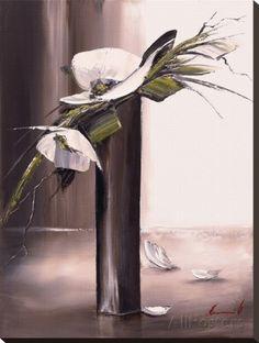 Bouquet Blanc I Reproduction transférée sur toile par Olivier Tramoni sur AllPosters.fr