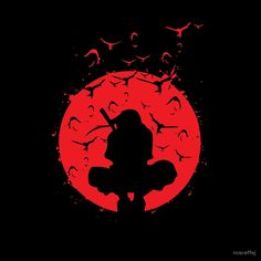 Itachi Silhouette in the red moon with Grunge effect  is Available as T-Shirts…