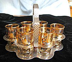 Vintage Bar Set in Carrier   Vintage Bar Glass Set Gold Overlay (Barware) at More Than McCoy