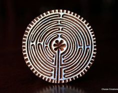 Hand Carved Indian Wood Textile Stamp Block- Labyrinth