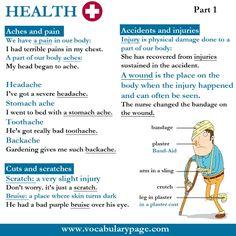 Health vocabulary part 1 www.vocabularypage.com