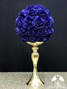 ROYAL BLUE Rose Ball made of PREMIUM Real Touch Roses. Royal Blue Flower Ball. Royal Blue Pomander. Royal Blue Centerpiece. Royal Blue Wedding. Quinceanera. Pick Rose Color! 10 Size Pictured.  GOLD STAND Sold Separately Royal Blue Centerpieces, Wedding Centerpieces, Wedding Decorations, Flower Ball Centerpiece, Mickey Centerpiece, Crown Centerpiece, Blue Wedding, Rainbow Wedding, Burgundy Wedding