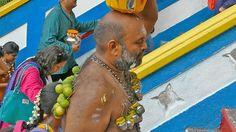 Batu Murugan during Thaipusam Vel kavadi 2015 Temple 4K Malaysia