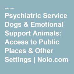 Psychiatric Service Dogs & Emotional Support Animals: Access to Public Places & Other Settings | Nolo.com