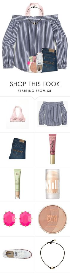 """it's my last day of summer "" by madelinelurene ❤ liked on Polyvore featuring Free People, J.Crew, Abercrombie & Fitch, Too Faced Cosmetics, Pixi, Kendra Scott, Maybelline and Converse"