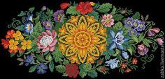 Купить или заказать Цветочный орнамент для диванной подушки в интернет-магазине на Ярмарке Мастеров. Восстановленная старинная схема для вышивки середины 19 века. Схема сделана по живой палитре ДМС, содержит только полный крест в две нити (отсутствуют другие стежки, такие как полукрест, бекститч, французский узелок) 49 цветов ДМС 232 * 110 стежков 14 каунт - 42 * 20 см 16 каунт - 37 * 18 см 18 каунт - 33 * 16 см В схему входит: 1. Цветное изображение готовой вышивки 2. Цветная символьная…