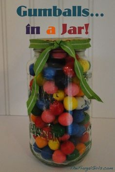 Gumballs… in a Jar = Fun Party Favors or Gifts for gumball fanatics! ~ at TheFrugalGirls.com #gumballs #masonjars