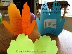 Praying Hands – Day 3 of Resurrection Crafts Prayer Crafts, Bible Story Crafts, Bible Stories, Hand Crafts For Kids, Craft Activities For Kids, Craft Ideas, Toddler Activities, Fall Preschool, Preschool Crafts