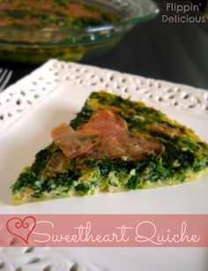 Sweetheart quiche is a great way to make any day a little bit more special. Gluten-free quiche lined with Swiss cheese instead of crust, filled with spinach and little hearts of ham or turkey make this an easy and fun dinner, perfect for Valentine's Day.