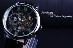 Forsining 3D Literal Design Roman Number Black Dial Skeleton Luxury Watch For Men - Online Shopping for Watches