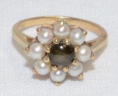 Pearl & Synthetic Cats Eye Ring set in 10K by LadyLibertyGold