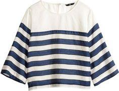 H&M Short Blouse - Dark blue/white - Ladies - ShopStyle