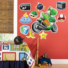 Mario Kart Wii Yoshi Giant Wall Decal - Includes (1) giant wall decal.