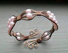 vintage bronze and pink bracelet