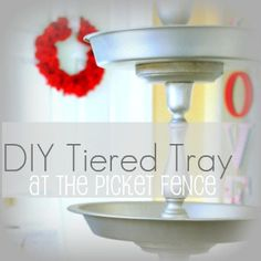 DIY Dollar Tree pans Tiered Tray Tutorial from At The Picket Fence