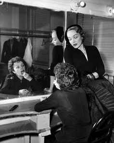 Marlene Dietrich and Edith Piaf in her dressing room at the Versailles Nightclub, 1952