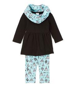 This Aqua & Black Desert Tunic Set - Infant, Toddler & Girls is perfect…