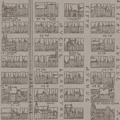 New York is synonymous with straight streets, but the straight lines harbour amazing buikdings and crowds of people. We found inspiration in an old 19th Century map showing parts of Midtown Manhatttan, Park Avenue, Lexington Avenue, 5ht Avenue and Madison Avenue.