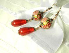 Dark Red Rose Romantic Tensha Earrings by juta230 on Etsy, $15.00